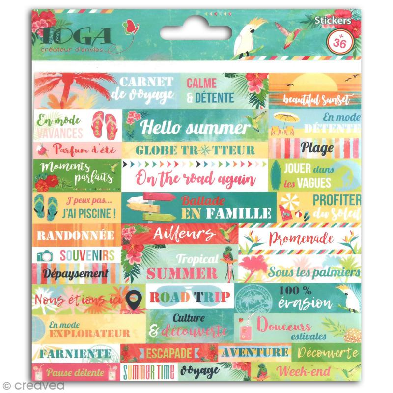 Stickers Mots Toga - Tropical Paradise - 1 planche de 15 x 15 cm - Photo n°1