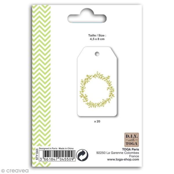 Set étiquettes blanches et ficelle twine Toga - Couronne de fleurs dorée - 20 pcs - Photo n°2
