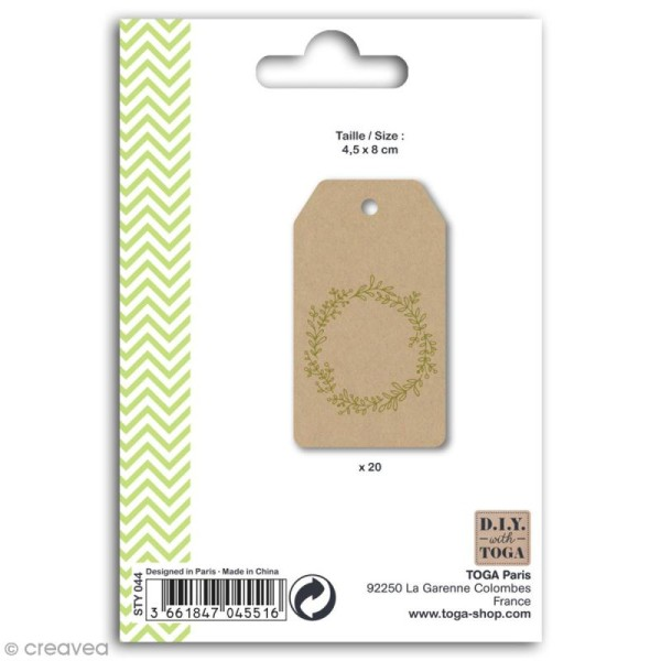 Set étiquettes kraft et ficelle twine Toga - Couronne de fleurs dorée - 20 pcs - Photo n°2