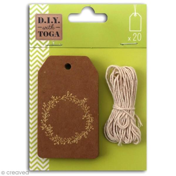 Set étiquettes kraft et ficelle twine Toga - Couronne de fleurs dorée - 20 pcs - Photo n°1