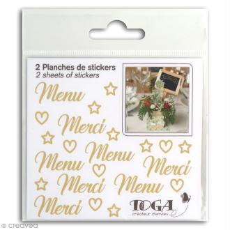 Stickers Fantaisie dorés - Mariage - 2 planches