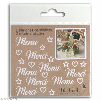 Stickers Fantaisie blancs - Mariage - 2 planches