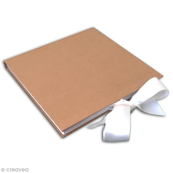 Livre d'or carré à décorer - Kraft - 20 x 20 cm - Photo n°2