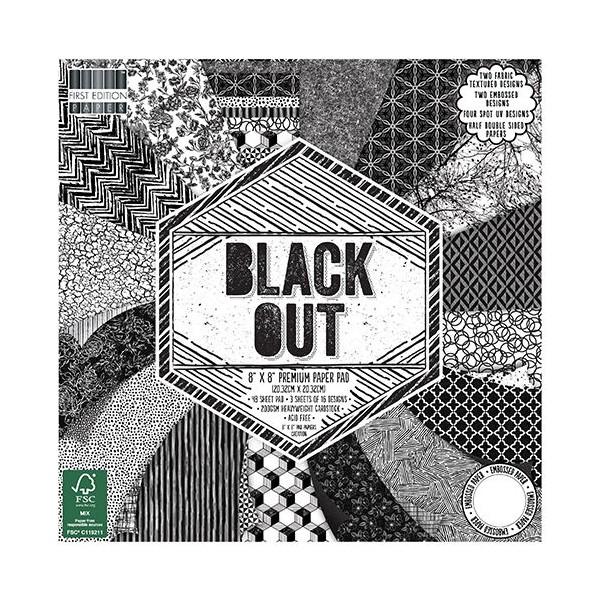 Bloc de 48 feuilles 20,5cm x 20,5cm recto verso, texturés black out - Photo n°1