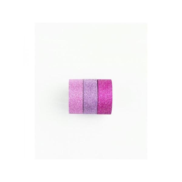 Lot de 3 rouleaux de washi tape rose pailleté KESI'ART - Photo n°1