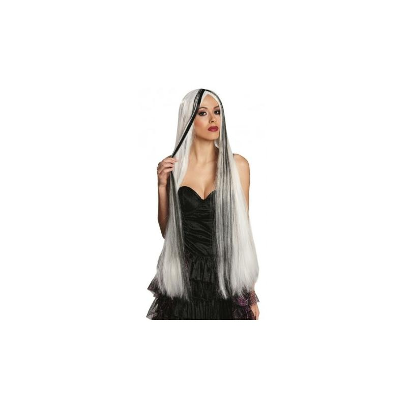 Perruque longue blanche et noire femme perruques adulte - Cuisine etroite et longue ...