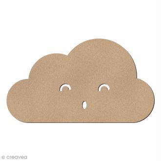 Nuage smiley plat yeux souriants en bois à décorer - 15 x 8,5 cm