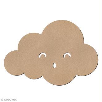Nuage smiley rond yeux souriants en bois à décorer - 15 x 10,5 cm