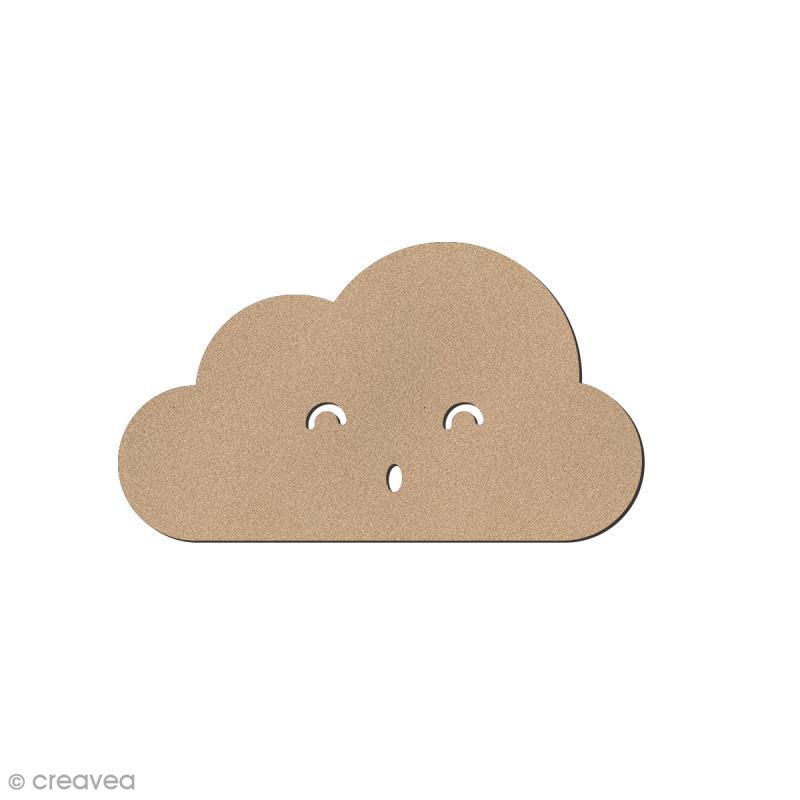 Nuage smiley plat yeux souriants en bois à décorer - 5 x 2,8 cm - Photo n°1