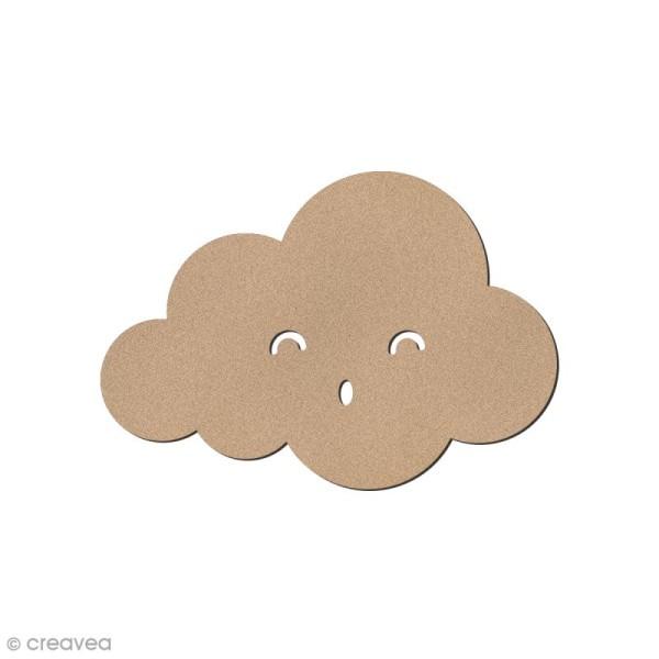 Nuage smiley rond yeux souriants en bois à décorer - 5 x 3,5 cm - Photo n°1
