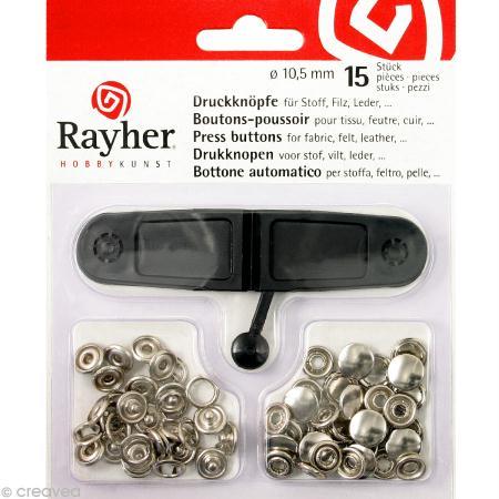 kit bouton pression couleur platine 10 5 mm x 15 boutons pression creavea. Black Bedroom Furniture Sets. Home Design Ideas