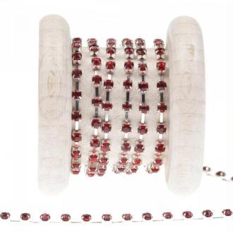 Chaîne métal et strass  - Rouge - Largeur 3mm