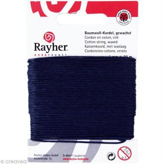 Cordon coton ciré - bleu foncé 1 mm x 20 m
