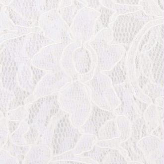 Tissu dentelle fleurie - Blanc- Par 50cm