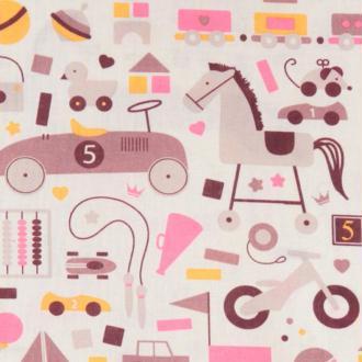 Tissu popeline enfant jouets rétro - Largeur 148cm - Vendu par 50cm