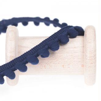 Ruban galon pompons au mètre - Bleu marine - Largeur 16mm
