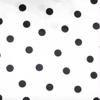Tissu à pois satin de carnaval - Blanc & noir