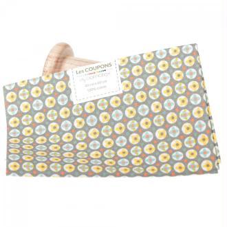 Coupon 40 x 60 cm tissu coton ronf fleuri - Tons pastels
