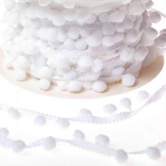 Ruban galon pompons grelot au mètre - Blanc - Largeur 18mm