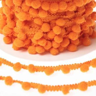 Ruban galon pompons grelot au mètre - Orange - Largeur 18mm