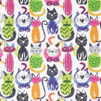 Tissu popeline coton chats - Multicolore - Largeur 150cm - Vendu par 50cm