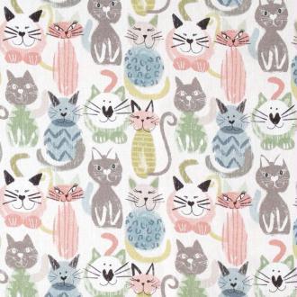 Tissu popeline coton chats - Pastel - Largeur 150cm - Vendu par 50cm