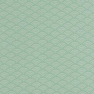 Tissu coton cretonne vague japonaise - Vert - Largeur 160cm - Vendu par 50cm