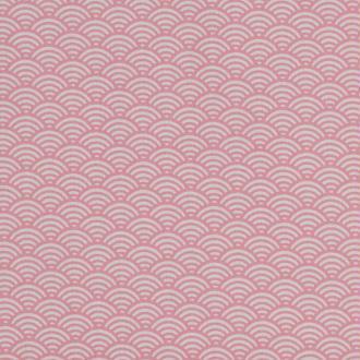 Tissu coton cretonne vague japonaise - Rose - Largeur 160cm - Vendu par 50cm