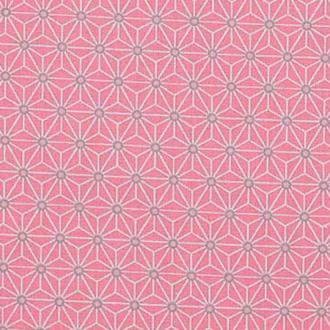 Tissu coton cretonne étoiles asanoha - Rose & ivoire - PAR 50CM