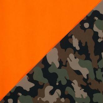 Tissu polaire softshell camouflage - Kaki & orange - Largeur 145cm - Vendu par 50cm
