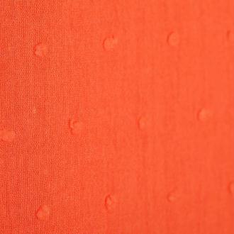 Tissu coton plumetis uni - Orange sanguine- Par 50cm