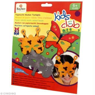 Masque en papier à décorer - Têtes d'animaux x 3