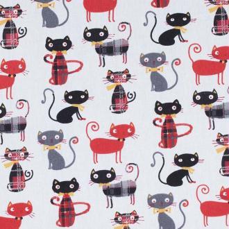 Tissu coton cretonne chat lord - Rouge & noir- Par 50cm - Oeko-Tex®