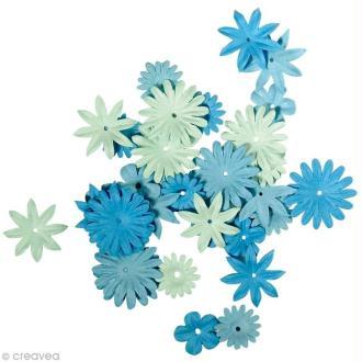 Fleur en papier bleu clair x 36