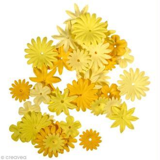 Fleur en papier jaune x 36