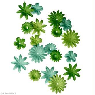 Fleur en papier vert moyen x 36