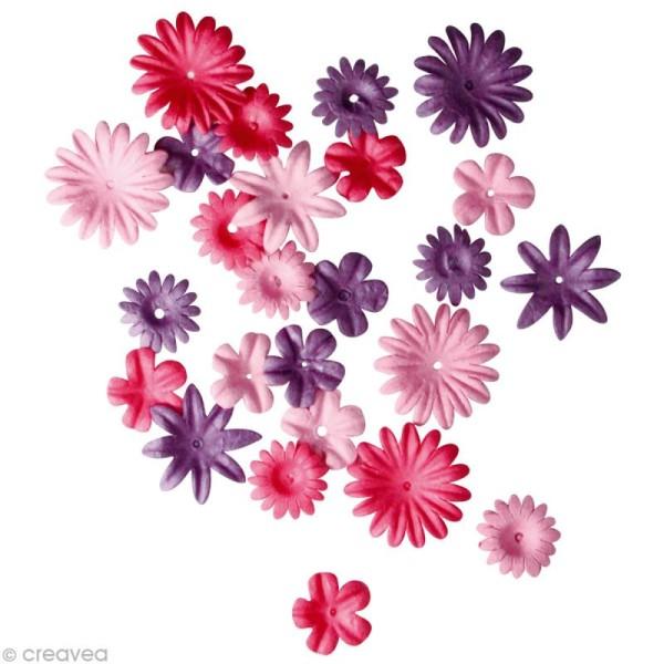 Fleur en papier rose foncé x 36 - Photo n°1