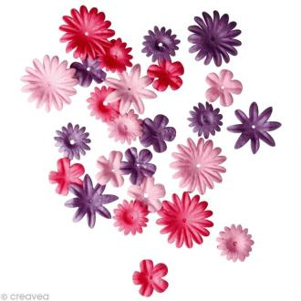 Fleur en papier rose foncé x 36