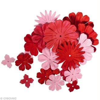 Fleur en papier rouge x 24