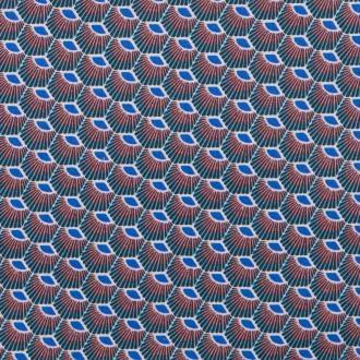 Tissu coton ethnic plume - Azur- Par 50cm