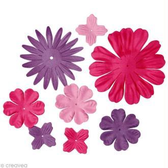 Fleur en papier rose foncé x 24