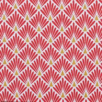 Tissu coton cretonne écailles dorées - Rouge- Par 50cm - Oeko-Tex®
