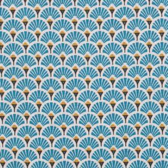 Tissu coton cretonne éventails dorées - Bleu- Par 50cm - Oeko-Tex®