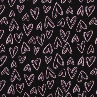 Tissu viscose coeur - Rose & noir - Largeur 145cm - Vendu par 50cm