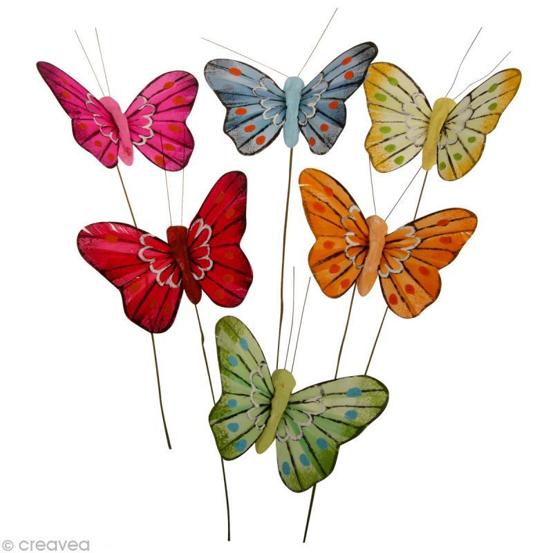 papillon en plume sur fil de fer x 6 formes en r sine creavea. Black Bedroom Furniture Sets. Home Design Ideas