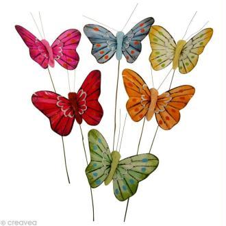 Papillon en plume sur fil de fer x 6