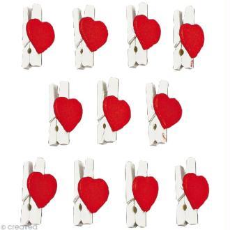 Mini pince à linge 2,5 cm Coeur rouge x 12