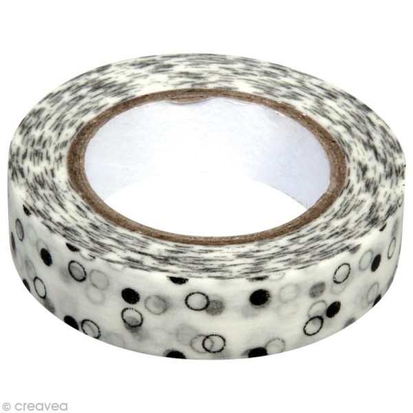 Washi Tape Pois Noir et Blanc 15 mm x 15 m - Photo n°1