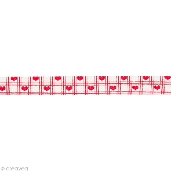 Washi Tape Coeurs Rouge et Blanc 15 mm x 15 m - Photo n°2