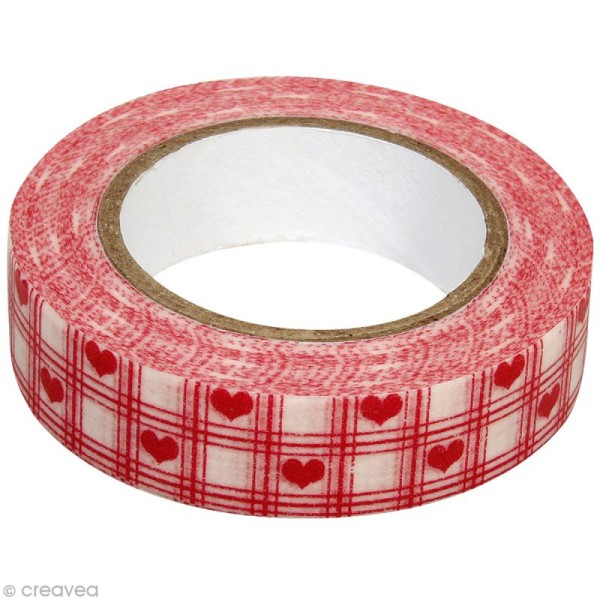 Washi Tape Coeurs Rouge et Blanc 15 mm x 15 m - Photo n°1
